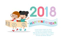 Szczęśliwy nowy rok 2018 żartuje tło, szczęśliwy dziecko z Szczęśliwym nowym rokiem 2018, Wektorowa ilustracja ilustracja wektor