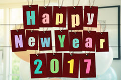 Szczęśliwy nowy rok 2017 abecadła słowo na rewolucjonistka papieru etykietkach Zdjęcie Royalty Free