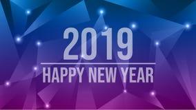 Szczęśliwy nowy rok 2019 Abstrakcjonistyczny futurystyczny 2019 nowy rok wigilii wektorowy tło ilustracja wektor