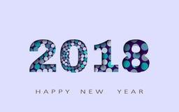 Szczęśliwy nowy rok, abstrakcjonistyczny projekt 3d, 2018 wektorowych ilustracj Zdjęcia Stock