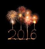 Szczęśliwy nowy rok 2016 (błyskotanie fajerwerk) Fotografia Royalty Free