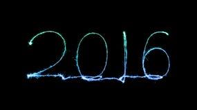 Szczęśliwy nowy rok 2016 (błyskotanie fajerwerk) Obrazy Royalty Free