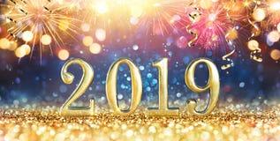Szczęśliwy nowy rok 2019 - błyskotliwość royalty ilustracja