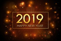 Szczęśliwy nowy rok 2019 Boże Narodzenia Witać złotą inskrypcję na tle fajerwerki fotografia stock