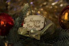 Szczęśliwy nowy rok, Bożenarodzeniowa dekoracja, wakacje Zdjęcia Royalty Free