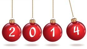 Szczęśliwy nowy rok 2014, Bożenarodzeniowy bauble Fotografia Royalty Free