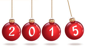 Szczęśliwy nowy rok 2015, Bożenarodzeniowy bauble Fotografia Royalty Free