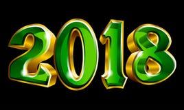 Szczęśliwy nowy rok 2018 3D jak wektorowy złocisty teksta projekt Fotografia Stock