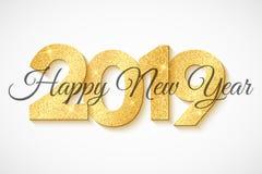 Szczęśliwy nowy rok 2019 3d liczby złociste błyskotliwość Czarna kaligrafia Luksusowy wakacyjny sieci tło zapal migocącego wektor ilustracji