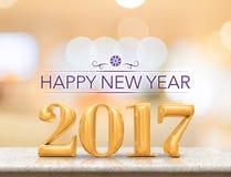 Szczęśliwy nowy rok 2017 3d odpłaca się nowego roku na marmurowym stołowym wierzchołku Zdjęcia Stock