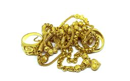 Szczęśliwy nowy rok, daje prezentowi złocistej biżuterii w rękach, akcesorium i modzie damy, zdjęcia stock