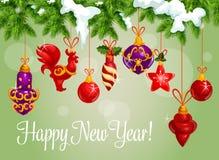 Szczęśliwy nowy rok dekoracj wektoru kartka z pozdrowieniami royalty ilustracja