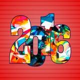 Szczęśliwy nowy rok 2016 Dekoracyjny rocznik ornamentacyjny ilustracji