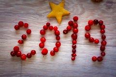 Szczęśliwy nowy rok rok 2019 i imbirowy biskwitowy asterysk napiszemy na jaskrawym stołowym wierzchołku z czerwonymi jagodami fotografia royalty free