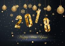 Szczęśliwy nowy rok 2018 i Wesoło boże narodzenia Obrazy Royalty Free