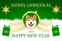 Szczęśliwy nowy rok 2018 i Wesoło boże narodzenia z Akita Zdjęcie Stock