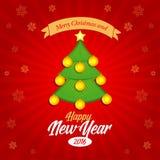 Szczęśliwy nowy rok 2016 i Wesoło bożych narodzeń sztandar, pocztówka, kartka bożonarodzeniowa ilustracji