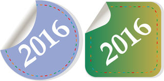 Szczęśliwy nowy rok 2016 - ikona z cieniem Obrazy Royalty Free