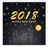 Szczęśliwy nowy rok 2018 Ilustracja Londyńscy punkty zwrotni Złoto i czerń koloru brzmienie ilustracji