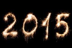 Szczęśliwy nowy rok 2015 - inskrypcja zrobił sparklers Obrazy Royalty Free