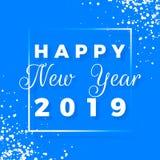 Szczęśliwy nowy rok 2019 Kartka z pozdrowieniami na błękitnym tle również zwrócić corel ilustracji wektora zdjęcie stock