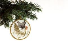 Szczęśliwy nowy rok 2017 kogut karta z ręcznie robiony rzemiosła decoupage Obrazy Stock