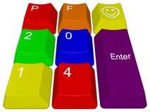 Szczęśliwy nowy rok 2014 - komputerów osobistych klucze Obrazy Royalty Free