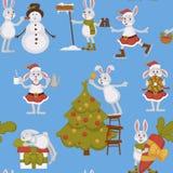 Szczęśliwy nowy rok, królik dekoruje choinka bezszwowego wzór ilustracji
