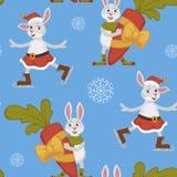 Szczęśliwy nowy rok, królik dekoruje choinka bezszwowego wzór odizolowywającego na błękitnym tło wektorze ilustracja wektor