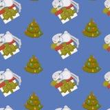 Szczęśliwy nowy rok, królik dekoruje choinka bezszwowego wzór odizolowywającego na błękitnym tło wektorze royalty ilustracja
