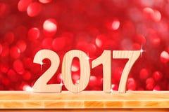 Szczęśliwy nowy rok 2017 liczb w perspektywicznym pokoju z czerwonym sparklin Zdjęcia Stock