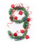 Szczęśliwy nowy rok liczba 9 napisze Zdjęcie Stock