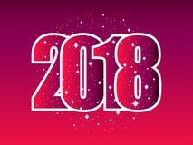 Szczęśliwy nowy rok 2018 Liczby z płatkami śniegu abstrakcjonistycznych gwiazdkę tła dekoracji projektu ciemnej czerwieni wzoru s Obrazy Stock
