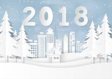 Szczęśliwy nowy rok 2018 na śniegu i zima sezon z miastowym landsca Zdjęcia Royalty Free