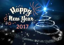 Szczęśliwy nowy rok 2017 na cyfrowo wytwarzającym tle Zdjęcie Royalty Free