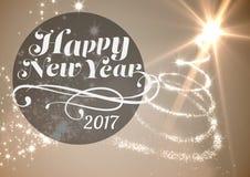Szczęśliwy nowy rok 2017 na cyfrowo wytwarzającym tle Obraz Royalty Free