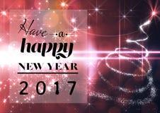 Szczęśliwy nowy rok 2017 na cyfrowo wytwarzającym tle Fotografia Royalty Free
