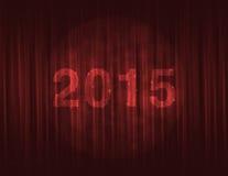 Szczęśliwy nowy rok 2015 na czerwonej zasłonie royalty ilustracja