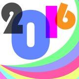 Szczęśliwy nowy rok 2016 na kolorowym Obraz Royalty Free