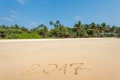 Szczęśliwy nowy rok 2017 na plaży Obrazy Royalty Free