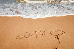Szczęśliwy nowy rok 2017 na plaży Obraz Stock