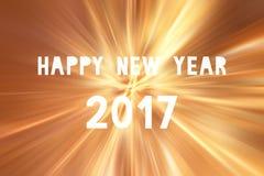 Szczęśliwy nowy rok 2017 na pomarańczowych światłach Zdjęcie Stock