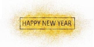 Szczęśliwy nowy rok na rozrzuconym złocie błyska obraz royalty free
