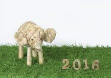 Szczęśliwy nowy rok 2016 na zielonej trawy pojęciu Zdjęcia Royalty Free