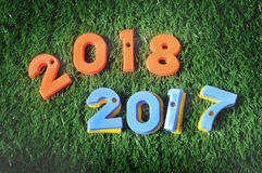 Szczęśliwy nowy rok, natury pojęcie i kolorowy numerowy pomysł, Obrazy Royalty Free