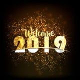 SZCZĘŚLIWY nowy rok 2019 od kolorowego błyskotania na czarnych tło fajerwerkach zaświeca up niebo, nowego roku świętowania fajerw royalty ilustracja