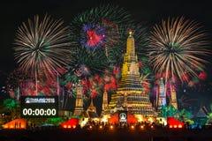 Szczęśliwy nowy rok 2016, odliczanie 2016 przy Wata Arun świątynią Fotografia Stock