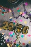 Szczęśliwy nowy rok Odzwierciedlający piłki 2016 Grunge i Porysowany Backgroun Zdjęcia Royalty Free