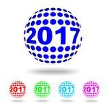 Szczęśliwy nowy rok 2017, okręgu logo, teksta projekta wektoru ilustracja royalty ilustracja