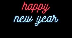Szczęśliwy nowy rok 2017, 2018,2019,2020, ono rozmigotuje mrugający neonowego znaka na czarnym tle z przestrzenią dla teksta ilustracja wektor